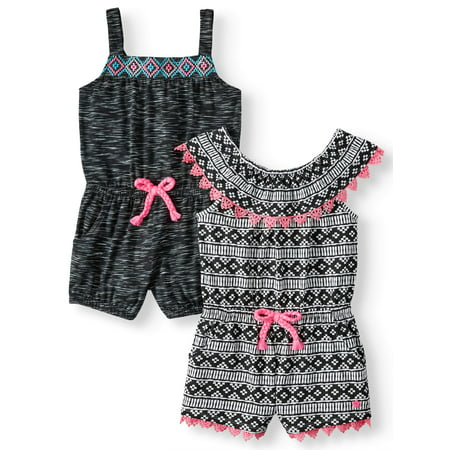 Classic Embroidered Romper - Limited Too Pom Trim Ruffled and Embroidered Rompers, 2-Pack (Little Girls)
