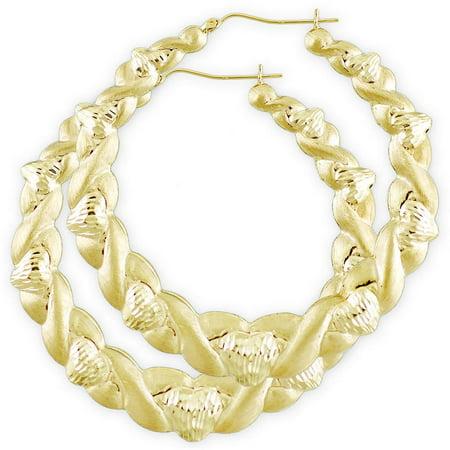 10K Gold Hollow XO Dia-Cut Heart Round Earrings 2 3/4 inch.