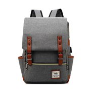 "Canvas Laptop Backpack for Women Men, Vbiger Shoulder Travel Daypack Anti-theft Satchel Rucksack Computer School Bag with USB Charging Fit 16"" Laptop, Gray"