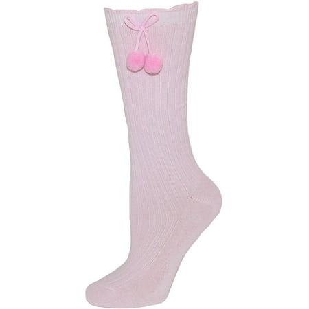 Girl's Fashion Knee High Socks with Pom Poms