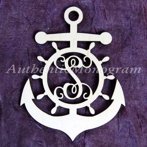 aMonogram Art Unlimited Anchor Wheel Wooden Monogram Wall Decor