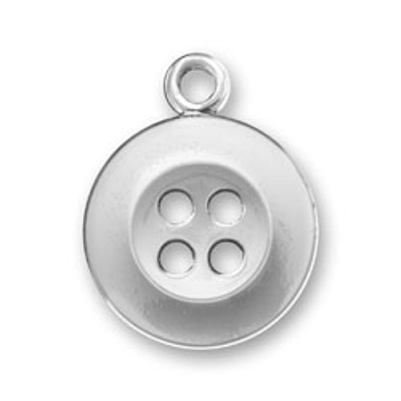 Sterling Silver 7 4.5mm Charm Bracelet With Attached 3D Plain Round Button Charm