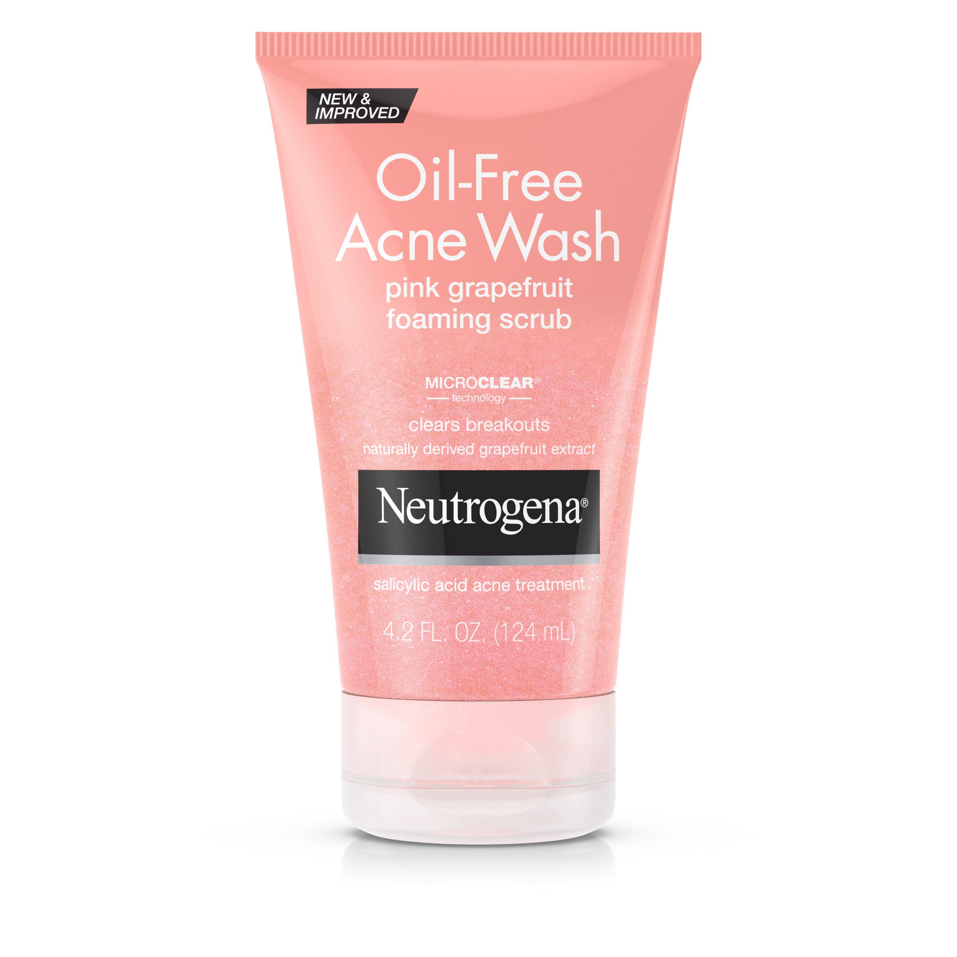 Neutrogena Oil-Free Acne Face Wash Pink Grapefruit Foaming Scrub, Salicylic Acid Acne Treatment, 4.2 Fl. Oz.