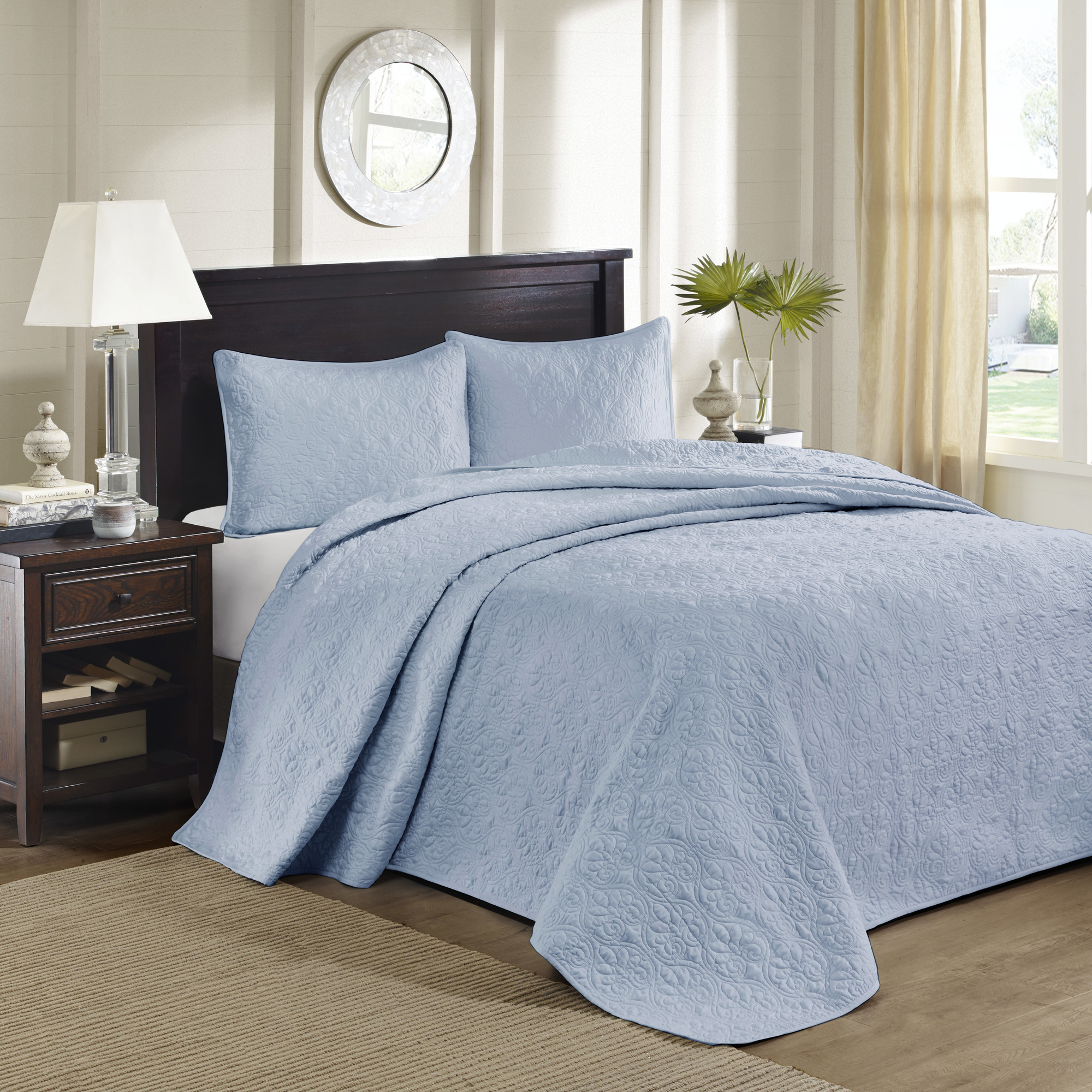 Home Essence Vancouver Solid Reversible Bedspread Set