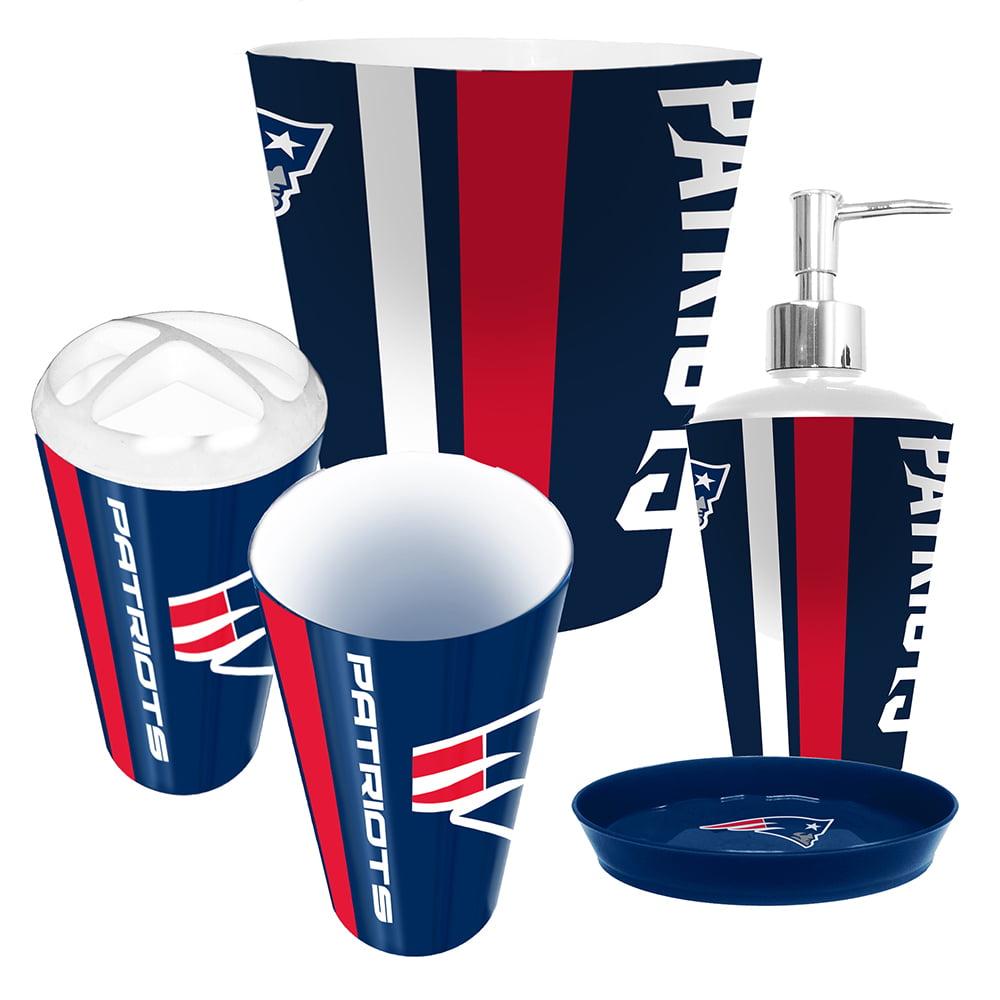new patriots nfl complete bathroom accessories 5pc