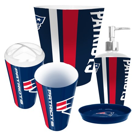 New England Patriots NFL Complete Bathroom Accessories 5pc Set Walmart.com