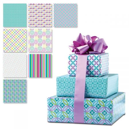 Colorful Prints Everyday Peek-Proof Flat Gift Wrap Sheets- 8 sheets (1 of each design), each sheet is 22