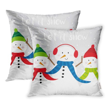 BSDHOME Cartoon Cute Snowman Celebration Christmas Pillow Case Pillow Cover 16x16 inch Set of 2 - image 1 of 1