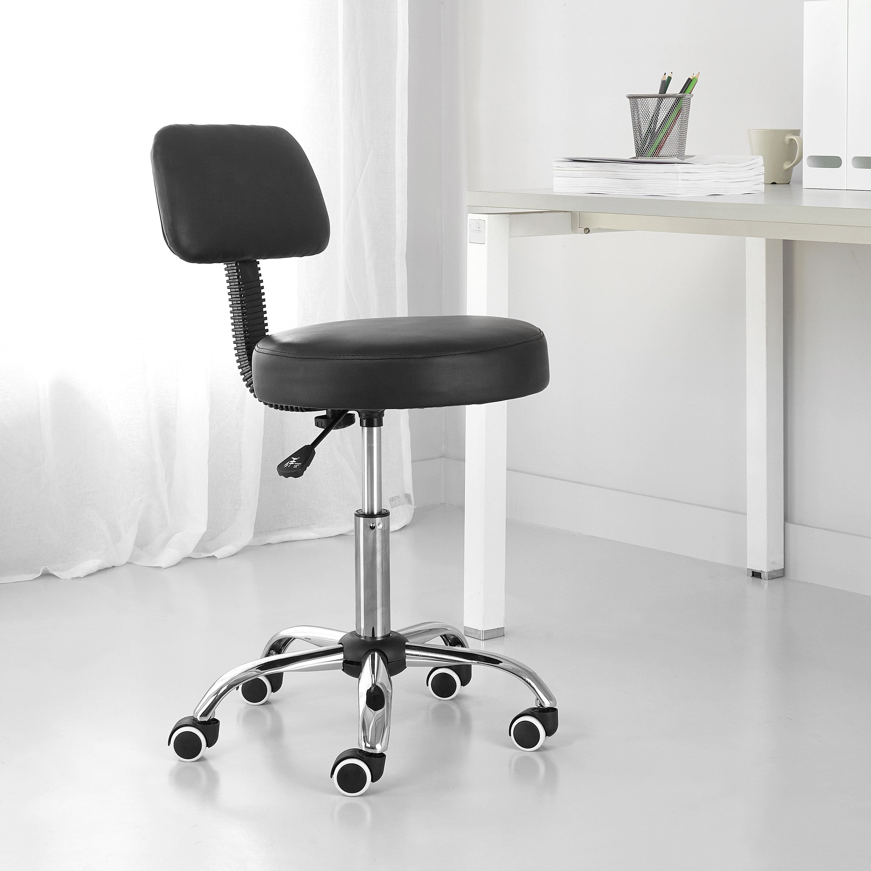 Image of: Mainstays High Back Faux Leather Rolling Office Chair Black Walmart Com Walmart Com