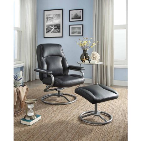 Mainstays Plush Pillowed Recliner Swivel Chair and Ottoman Set, Multiple Available (Coja Reclining Recliner)