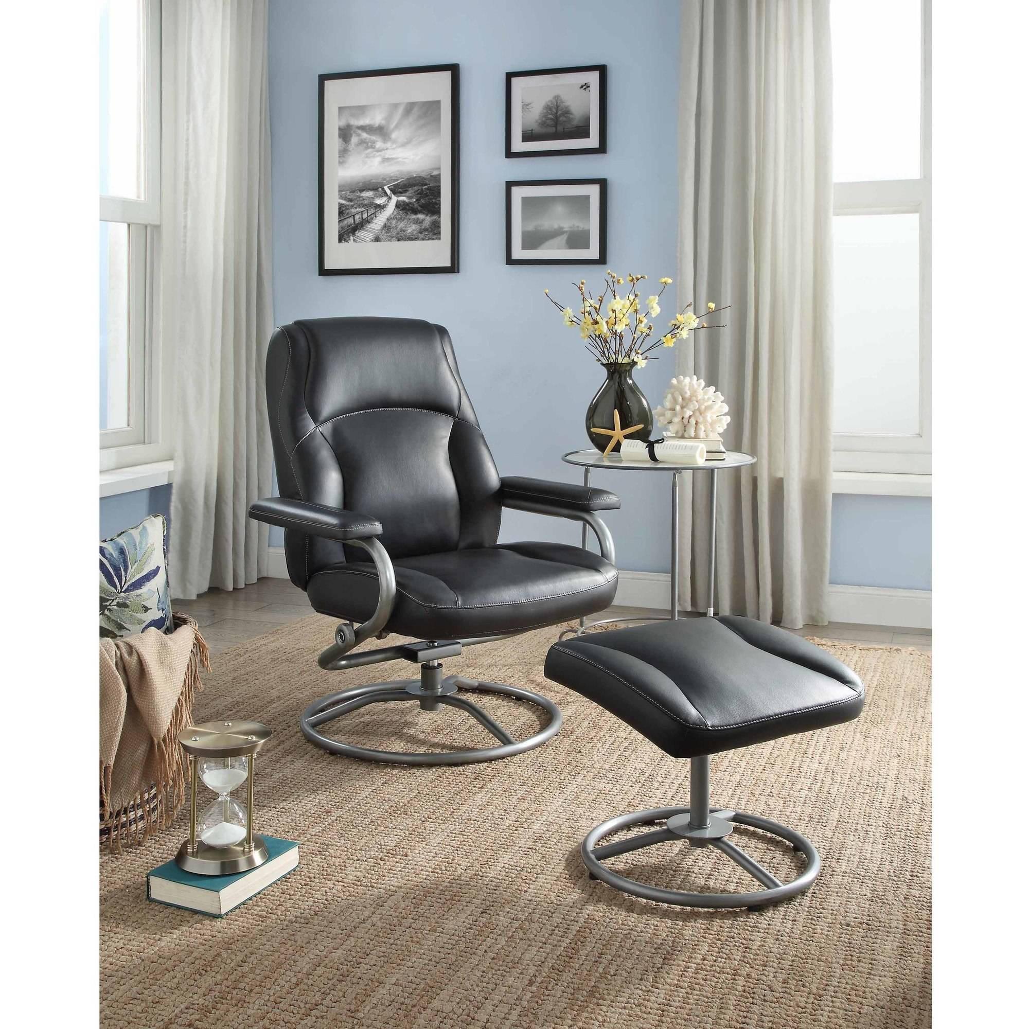 Mainstays Plush Pillowed Recliner Swivel Chair And Ottoman Set, Vinyl,  Multiple Colors