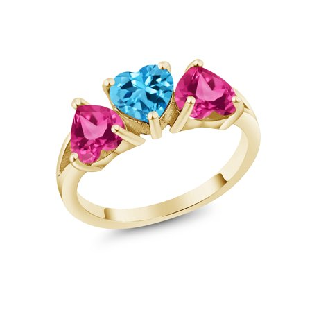 2.55Ct Swiss Blue Topaz Pink Created Sapphire 18K Yellow Gold Plated Silver Ring 18k Yellow Gold Swiss