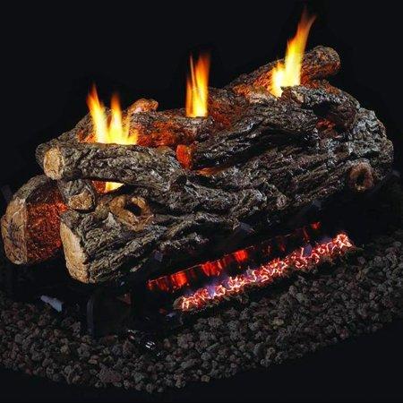 Peterson Real Fyre 24-inch Golden Oak Designer See-thru Log Set With Vent-free Natural Gas Ansi Certified G9 Burner - Basic On/Off Remote See Thru Natural