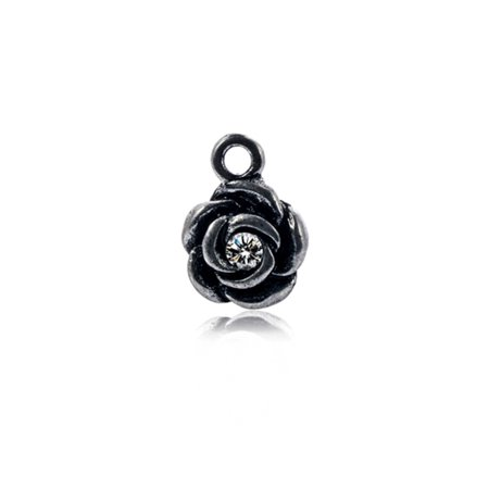Plum Blossom Antique Silver-Plated Pendant With Clear Preciosa Czech Crystal 16x11mm pack Of 4pcs