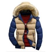 Plus Size Men Winter Warm Zipper Big Fur Collar Hooded Coat Jacket Contrast Color Long Sleeve Hoody Hooded Parka Jacket Outwear
