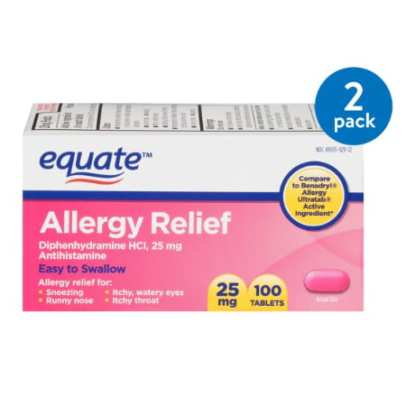 (2 Pack) Equate Allergy Relief Diphenhydramine Tablets, 25 mg, 100 Ct