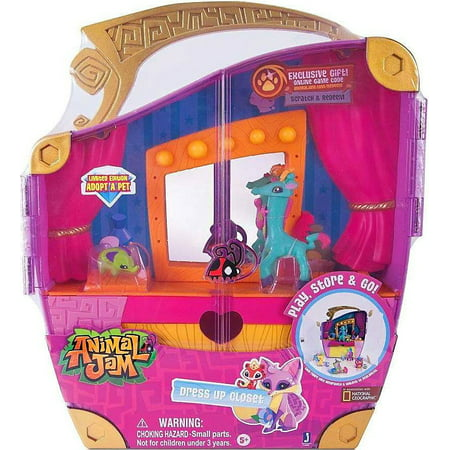 Animal Jam Adopt A Pet Dress Up Closet Play Set [Limited Edition ] Includes: 1 Playset Carry Case, 1 (3 inch) Limited Edition Animal, 1 (1 inch) Limited Edition Pet, 2 Interchangeable Accessories, 1 Limited Edition Collector's Guide, and 1 EXCLUSIVE online game code, redeemable at animaljam.com/redeemThe Dress Up Closet features doors and a handle so you can take the fun with you wherever you go!Large drawer provides storage for animals, pets and accessoriesBeauty platform for extra dress-up space in front of the high quality mirrorBeautifully display and store accessories on the shelf and around the mirror
