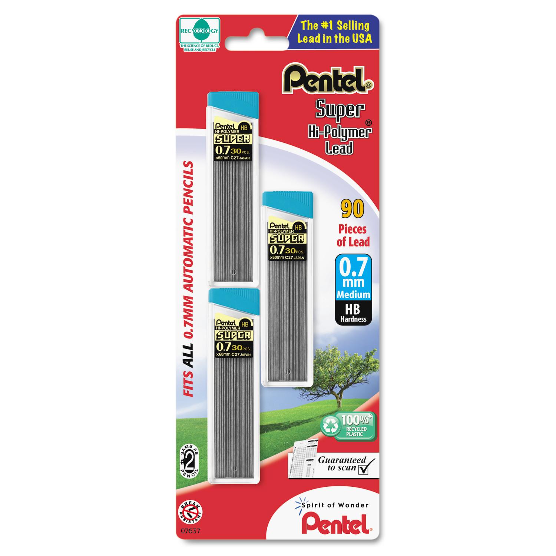 Pentel Super Hi-Polymer Lead Refills, 0.7mm, HB, Black, 30/Tube, 3 Tubes/Pack