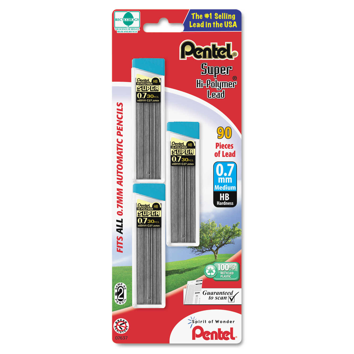 Pentel Super Hi-Polymer Lead Refills, 0.7mm, HB, Black, 30/Tube, 3 Tubes/Pack