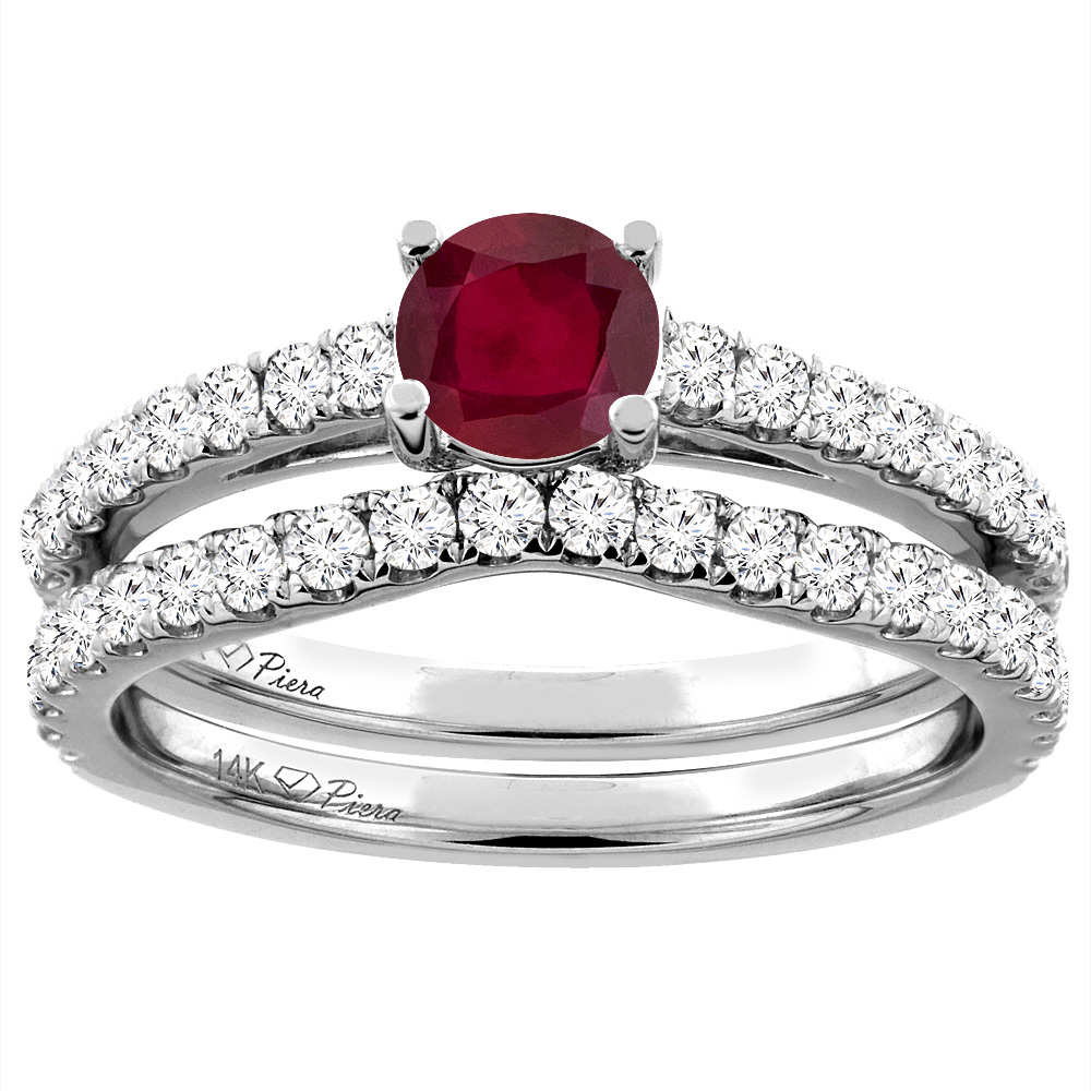 14K White Gold Diamond Enhanced Genuine Ruby Engagement Bridal Ring Set Round 6 mm, size 5 by Gabriella Gold