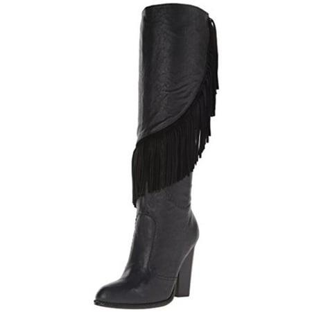 8da6b5fe793 Cynthia Vincent - Cynthia Vincent Womens Navy Leather Fringe Knee-High  Boots - Walmart.com