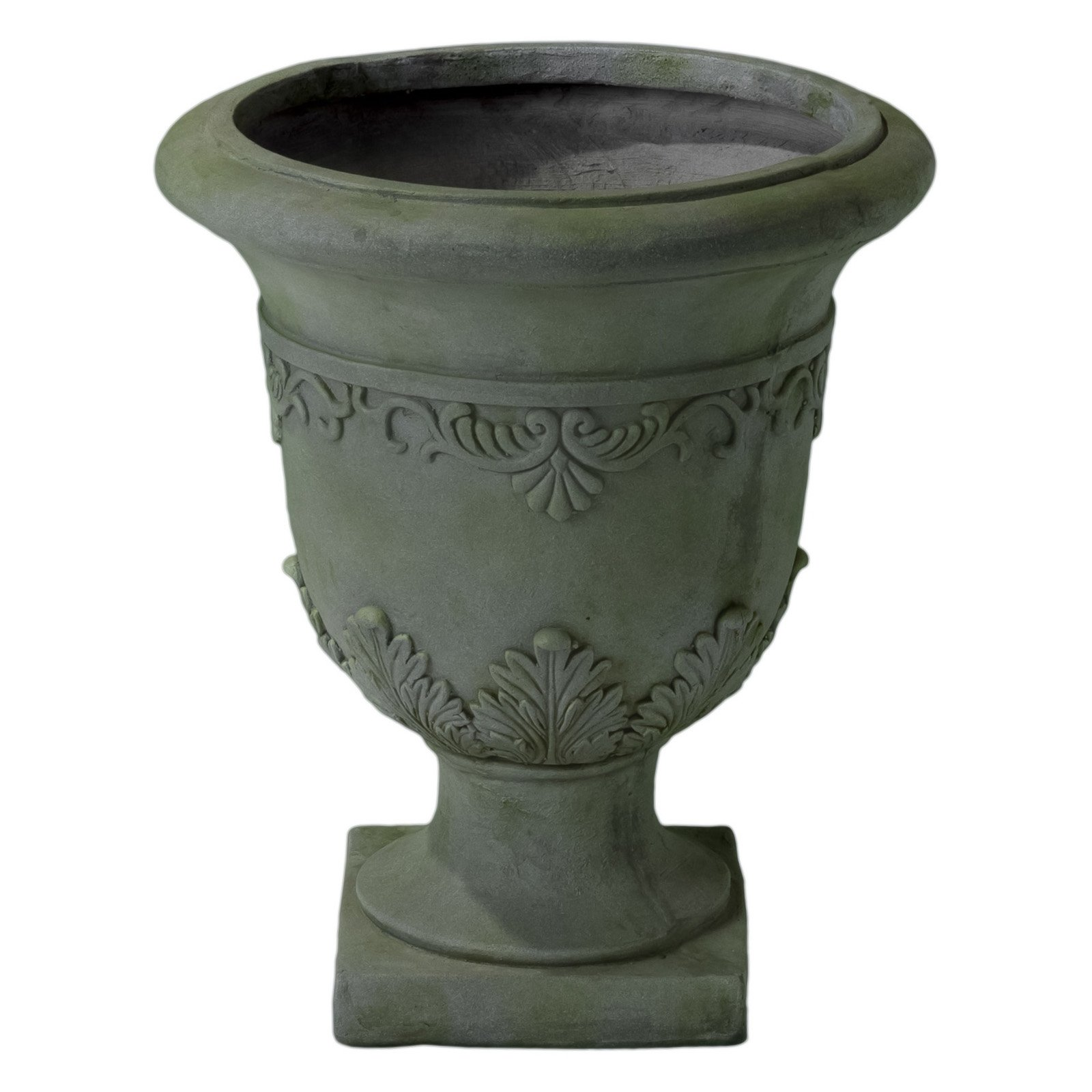 Moroccan 20 in. Grey with Green Moss Urn Planter by Overstock