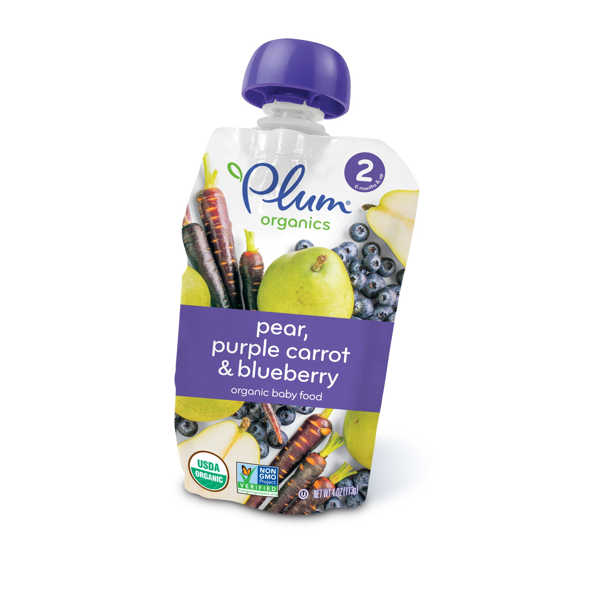 (6 Pack) Plum Organics Baby Food Pear, Purple Carrot & Blueberry, 4.0 OZ Stage 2