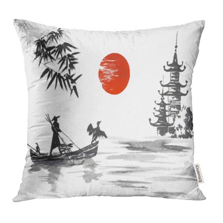 CMFUN Red Ink Japan Traditional Japanese Painting Sumi E Man with Boat Bamboo China Pillowcase Cushion Cover 20x20 inch
