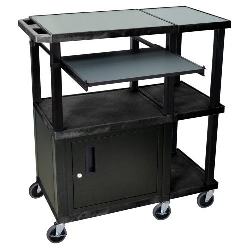 Luxor Extra Wide Laptop Presentation Cart with Security Cabinet - Black/Gray