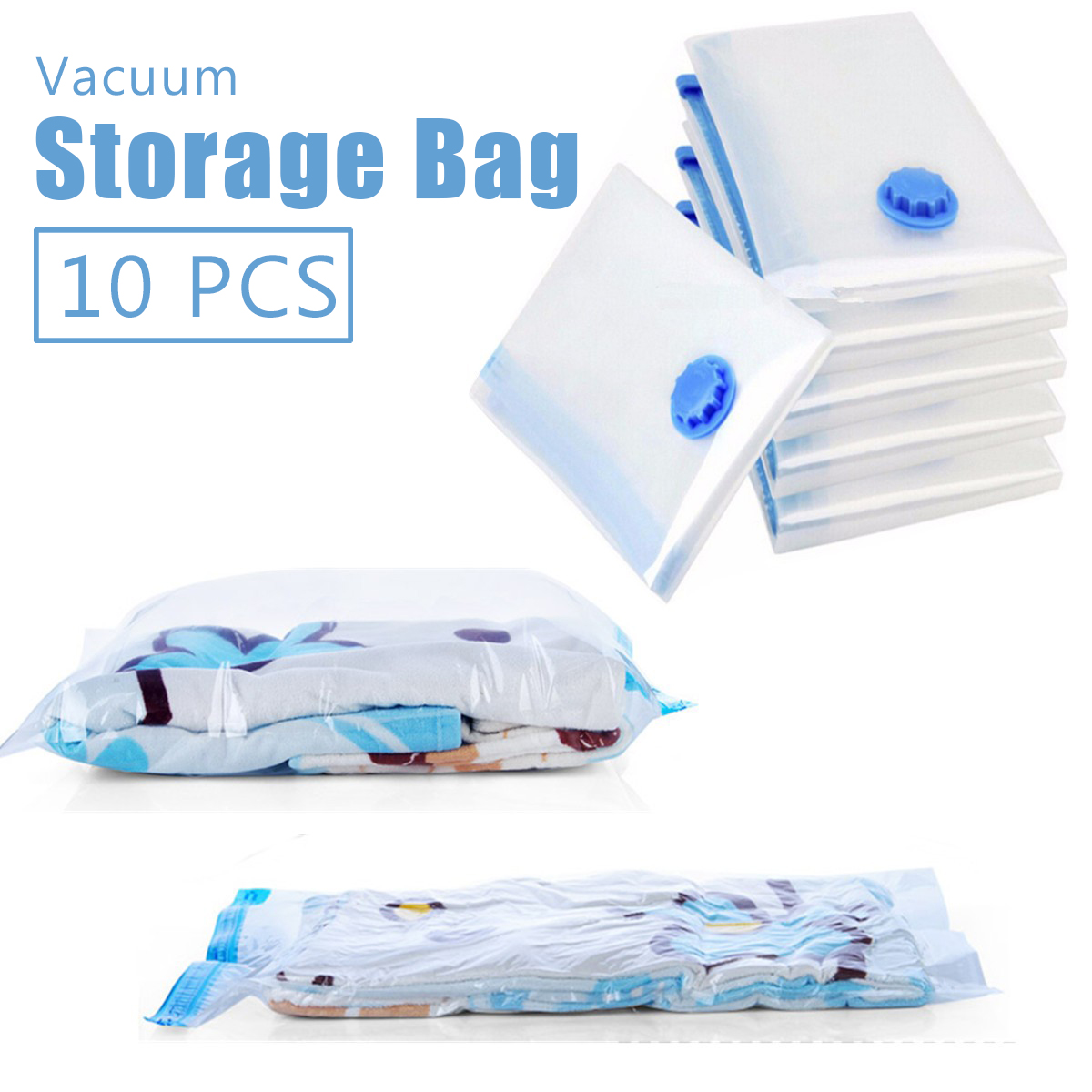 10Pcs Large Vacuum Storage Bags savingspace Space Saving Clothes Home Travel Compressed Bag Clear Blankets Comforters Bedding