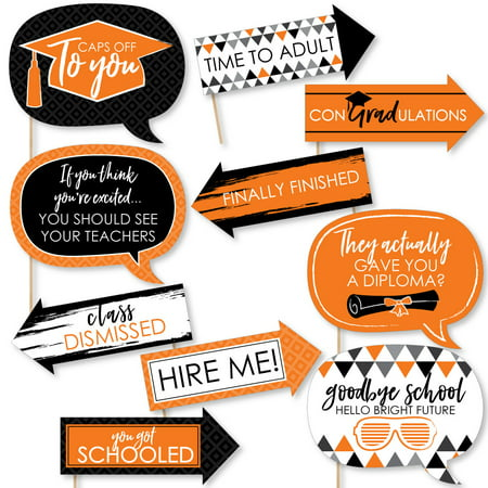 Funny Orange Grad - Best is Yet to Come -  Orange Graduation Party Photo Booth Props Kit - 10 Piece (Is Booth Dead)