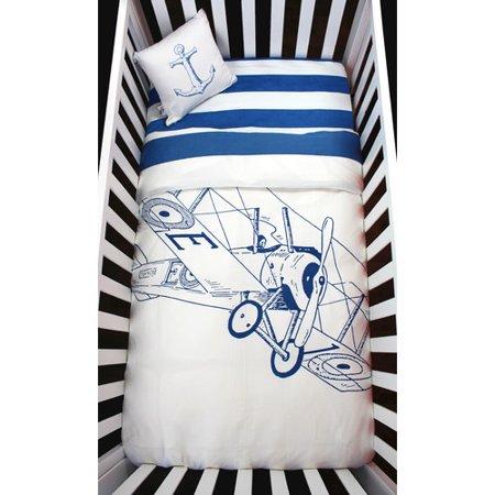Atelier  Dele Biplane 4 Piece Organic Baby Microfiber Duvet Crib Bedding Set