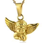 Stainless Steel Silver-Tone Yellow Gold-Tone Angel Pendant Necklace