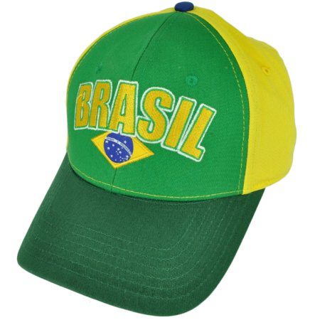 Brasil Brazil Flag Country Green Yellow  Hat Cap Brazilian Adjustable 2Ton