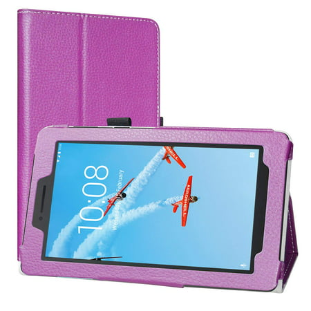 Lenovo Tab E7 Case, EpicGadget Lightweight Cover Folio PU Leather Folding Stand Case for Lenovo E7 7 Inch Tablet 2018 (Purple) (Minion 7 Inch Tablet Cover)