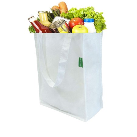 Prime Line Reusable Grocery Bags Made from Recycled Pet Bottles RPET White Pack Of 12 (10Wx13Hx5L) These ultra-premium grocery bags made of recycled plastic bottles are perfect for all of your grocery shopping needs. Not all high-quality reusable bags have to be expensive. These tote bags are constructed using extremely durable materials thatll last for years and they dont cost a fortune. Theyre easy to use for daily activities like shopping, going to the farmers market, or taking food on picnics. Theyre long-lasting and they have plenty of space to carry all of the items on your shopping list. Our reusable grocery bags are also an easy way to help the environment and reduce the number of plastic water bottles in our ecosystem.
