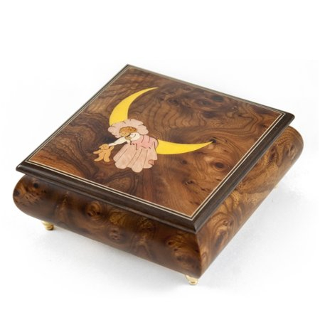 007 Swiss (Nostalgic 22 Note Wood Tone Child on Moon Sleeping with the Stars Music Box - All I Ask Of You - SWISS )