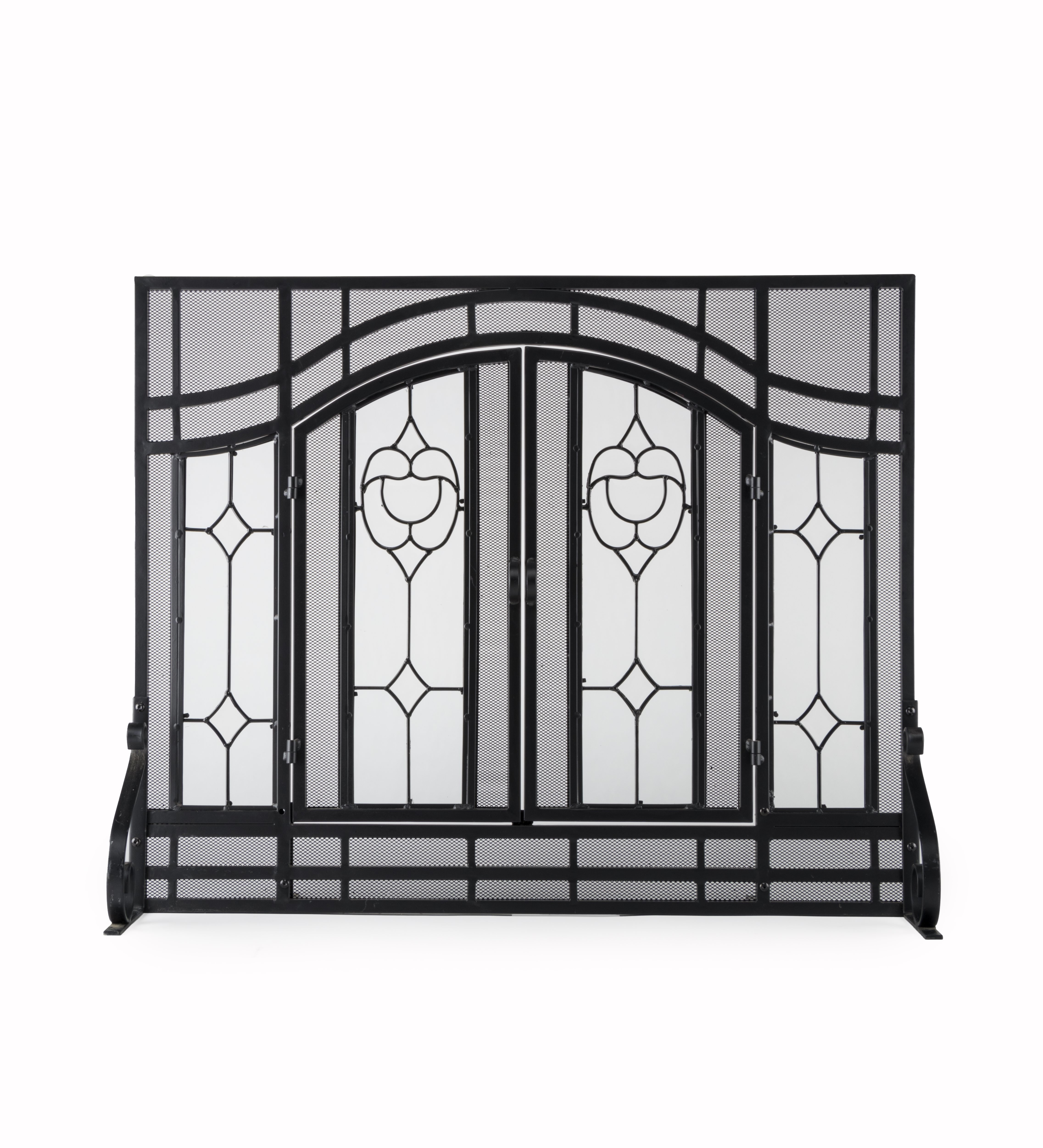 2-Door Floral Fireplace Screen w/ Beveled Glass Panels in Black