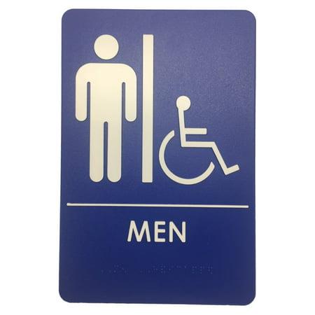 Rock Ridge Mens Handicap Restroom Sign Blue/White - ADA Compliant (24)