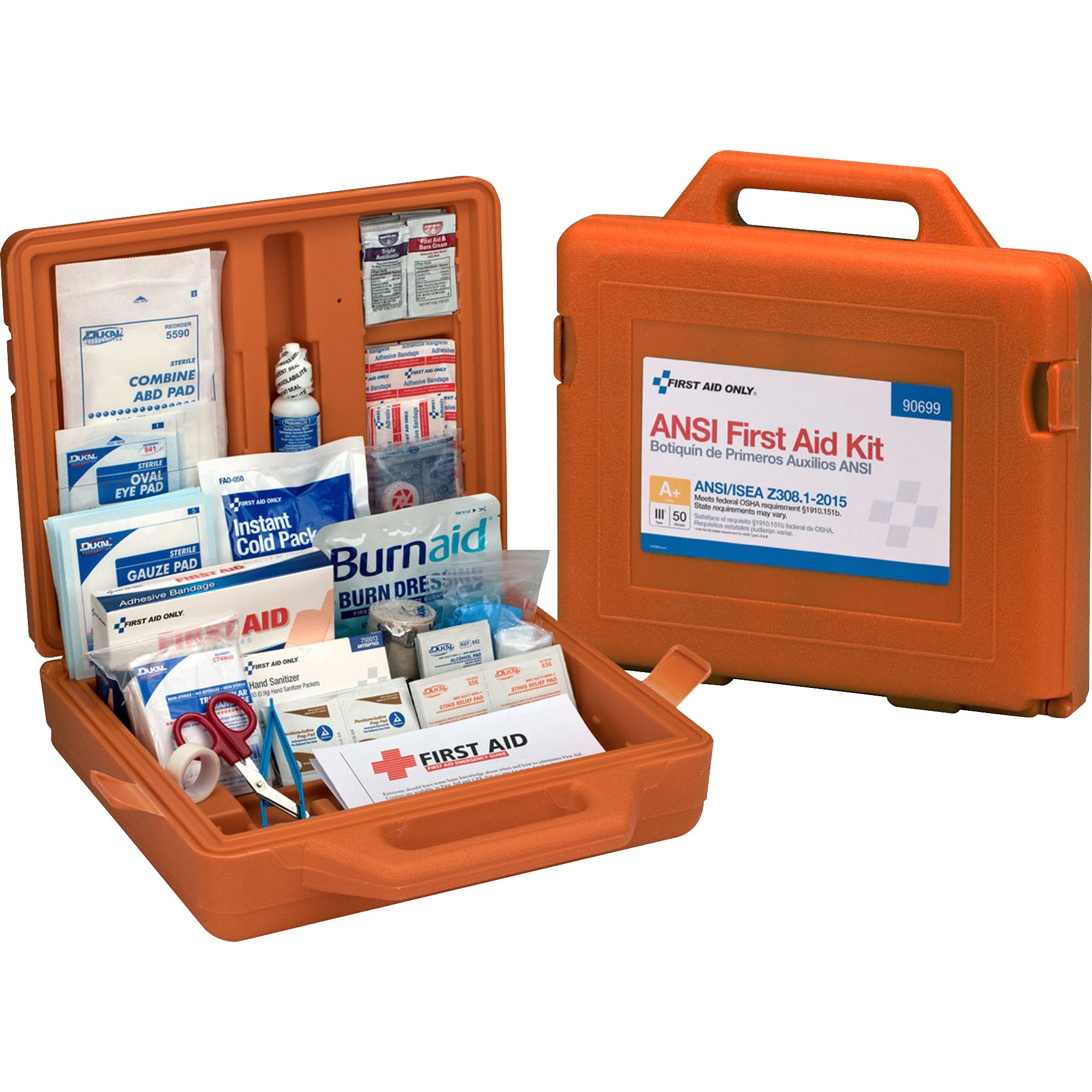 First Aid Only, FAO90699, First Aid Only 215-Piece Weatherproof First Aid Kit, 1 Each, Orange
