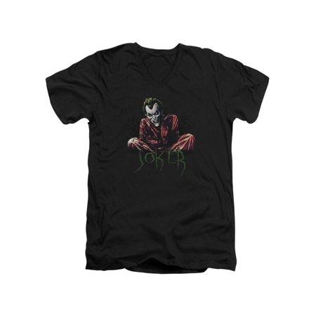 Asylum Straitjacket (Batman DC Comics Joker Arkham Asylum Straight Jacket Adult V-Neck T-Shirt)