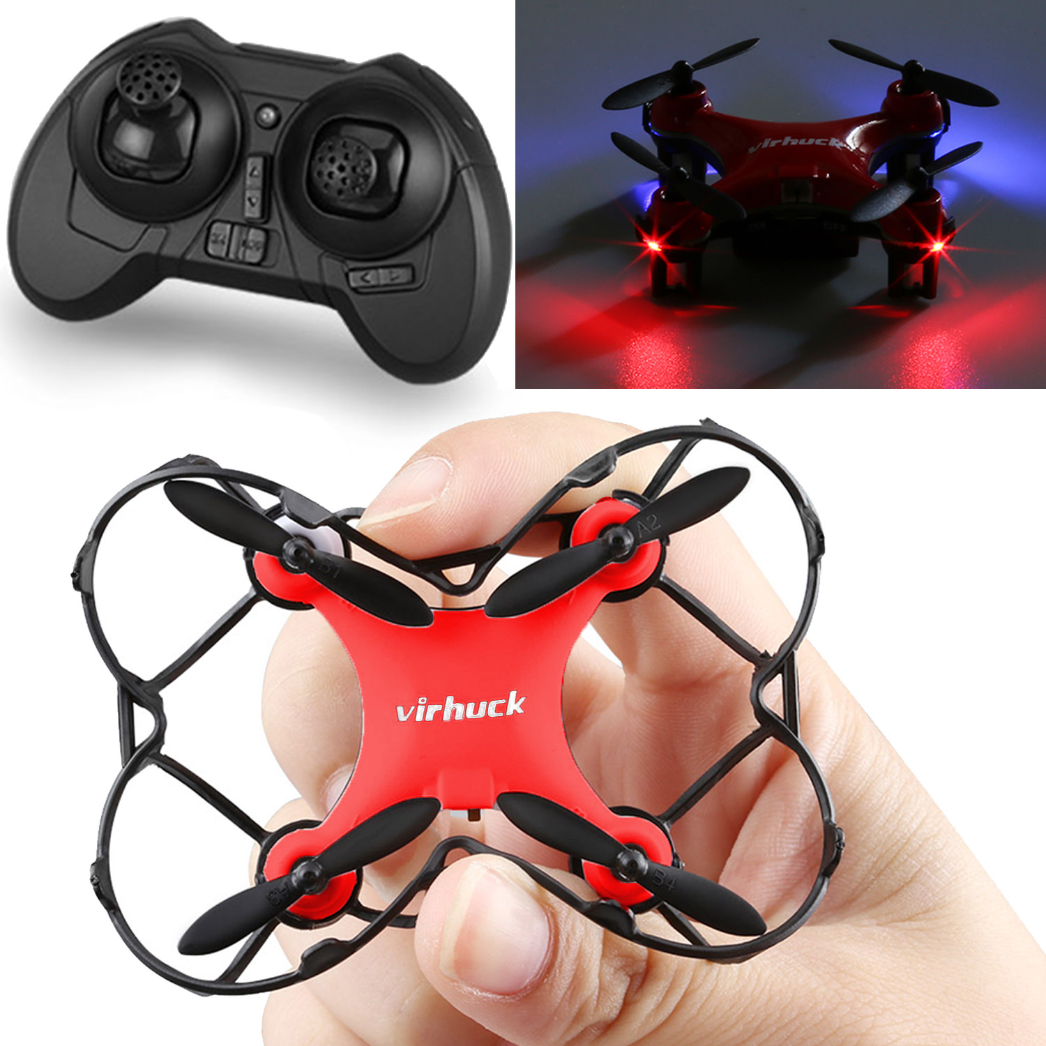 Virhuck GB202 Mini Pocket Quadcopter Remote Control 6 AXIS GYRO System Aircraft, Red