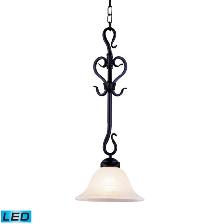 New Product ELK Lighting The Buckingham 1 Light LED Pendant In Matte Black And White Faux Marble Glass 251-BK-LED Sold By VaasuHomes