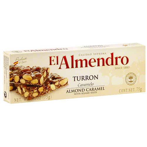 El Almendro Almond Caramel Turron With Sesame Seeds, 2.5 oz (Pack of 16)