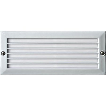 Dabmar Lighting LV601-W Cast Aluminum Recessed Louvered Brick, Step & Wall Light, White - 4 x 9.13 x 3.25 in.