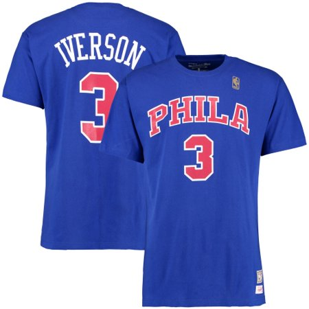 finest selection dd23c e4e4b Allen Iverson Philadelphia 76ers Mitchell & Ness Hardwood Classics Name &  Number T-Shirt - Royal