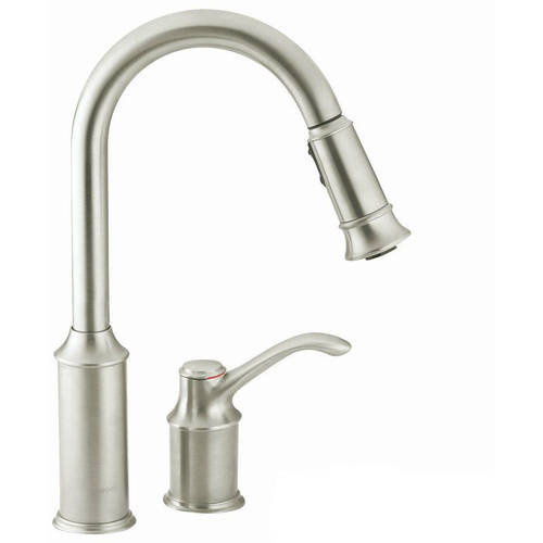 Moen 7590ORB Aberdeen Single Handle Kitchen Faucet with Pullout Spray, Available in Various Colors