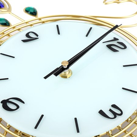 Greensen Horloge murale en forme de paon de style européen Creative Iron, pendule murale à diamant, horloge murale de style européen, horloge murale - image 6 de 8