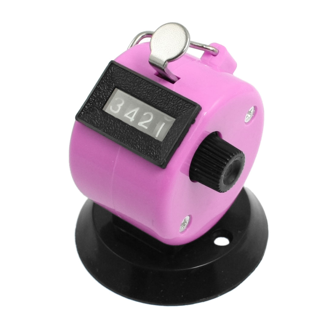 Unique Bargains Golf Pitch 4 Digit Number Clicker Handhold Tally Counter Black Pink