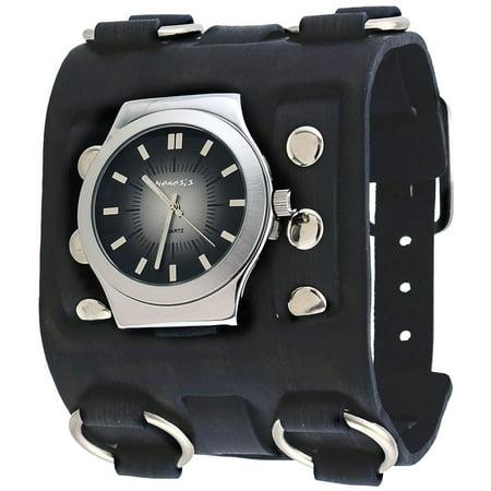 Nemesis fwb331k men 39 s charcoal black super wide leather band gradient dial watch for Gradient dial watch